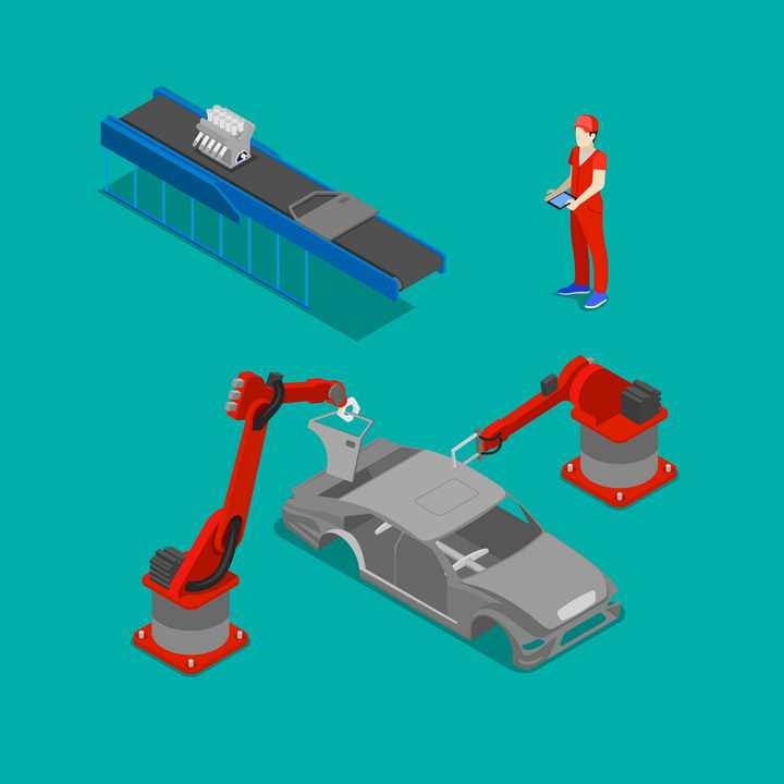 2.5D自动化汽车生产线全自动工厂工业机器人图片免抠矢量素材
