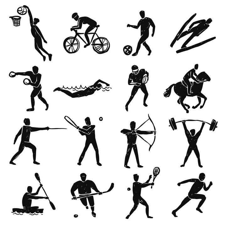 16款手绘涂鸦风格打篮球自行车踢足球滑雪游泳等体育项目图片免抠矢量素材