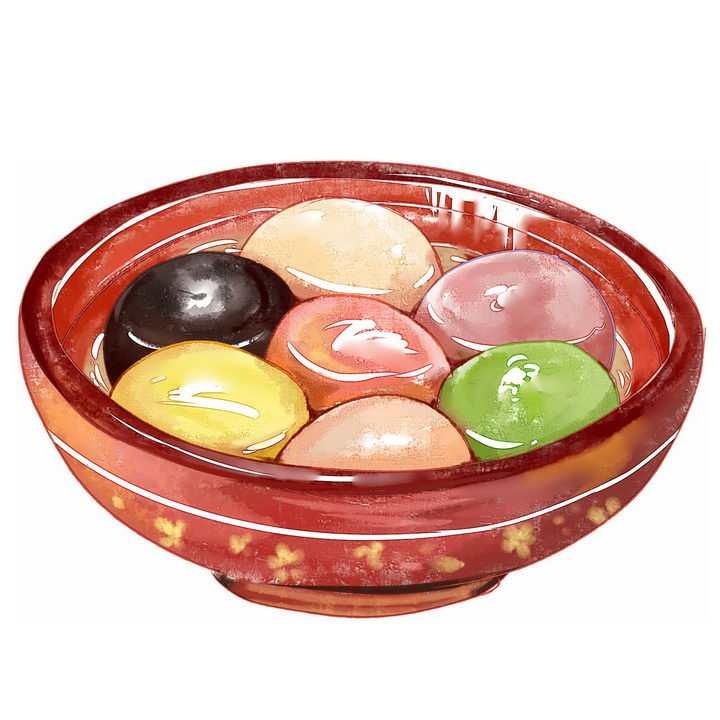 彩绘风格一碗美味的彩色汤圆元宵传统美食图片免抠png素材