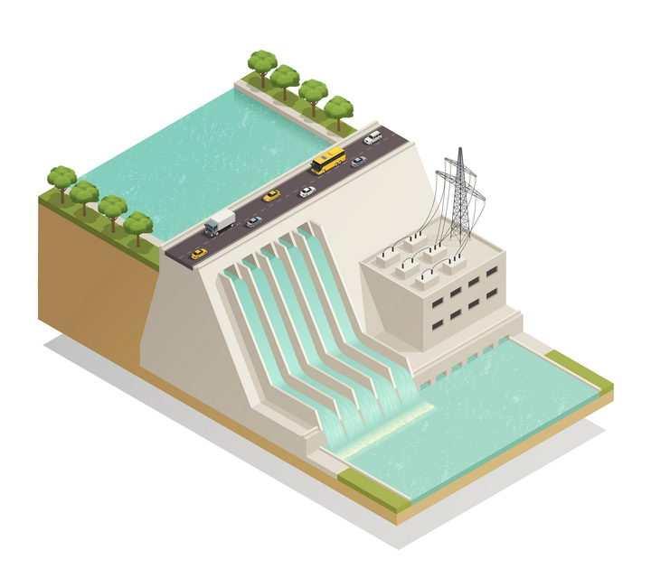 2.5D风格一座绿色环保能源的水力发电站图片免抠素材