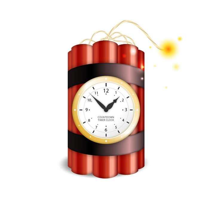 带有闹钟倒计时的定时炸弹图片免抠素材