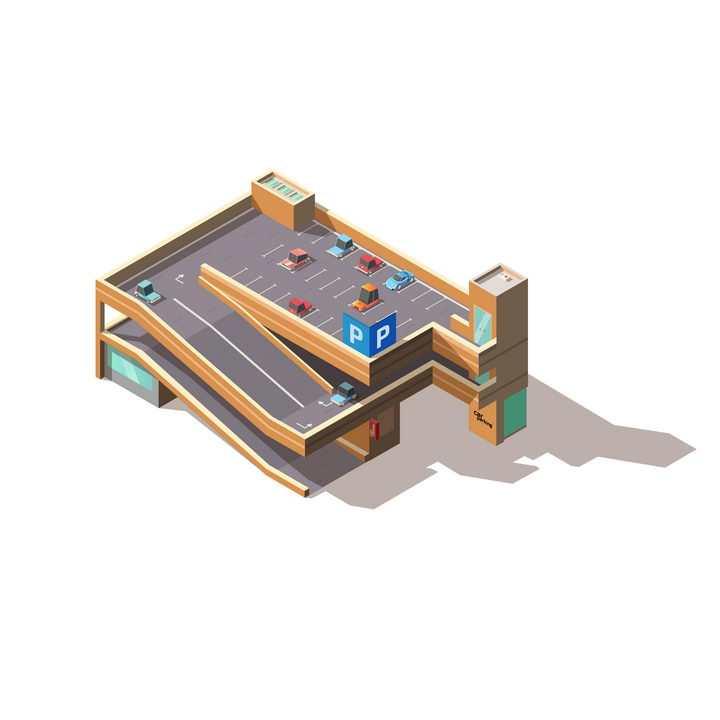 2.5D风格多层卡通城市停车场图片免抠矢量图素材