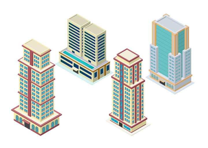 4款摩天大楼城市建筑高楼大厦图片免抠矢量图素材