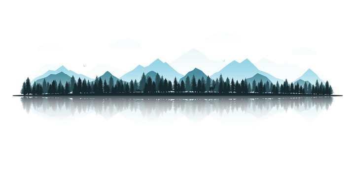 远方的大山和森林风景剪影图片免抠矢量素材