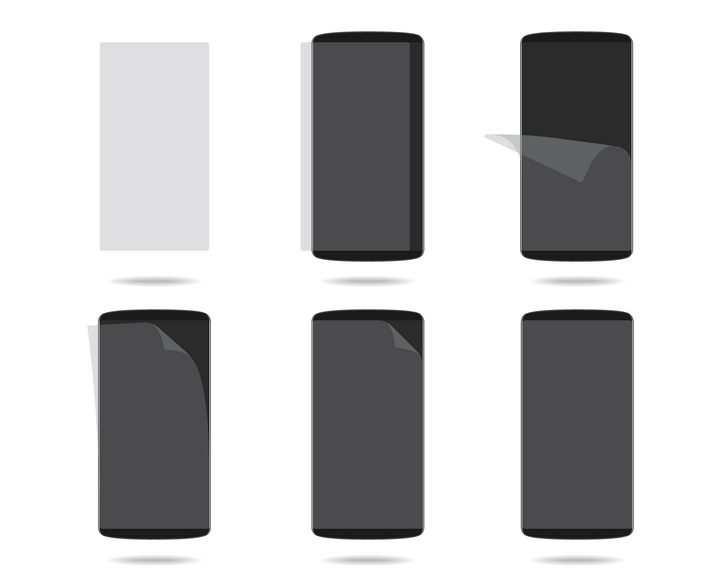 给智能手机贴手机膜步骤图免抠矢量图素材