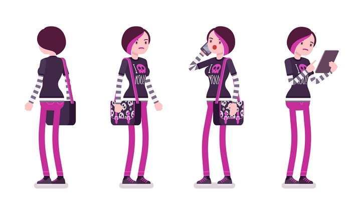 4款背着挎包的卡通女孩图片免抠矢量素材