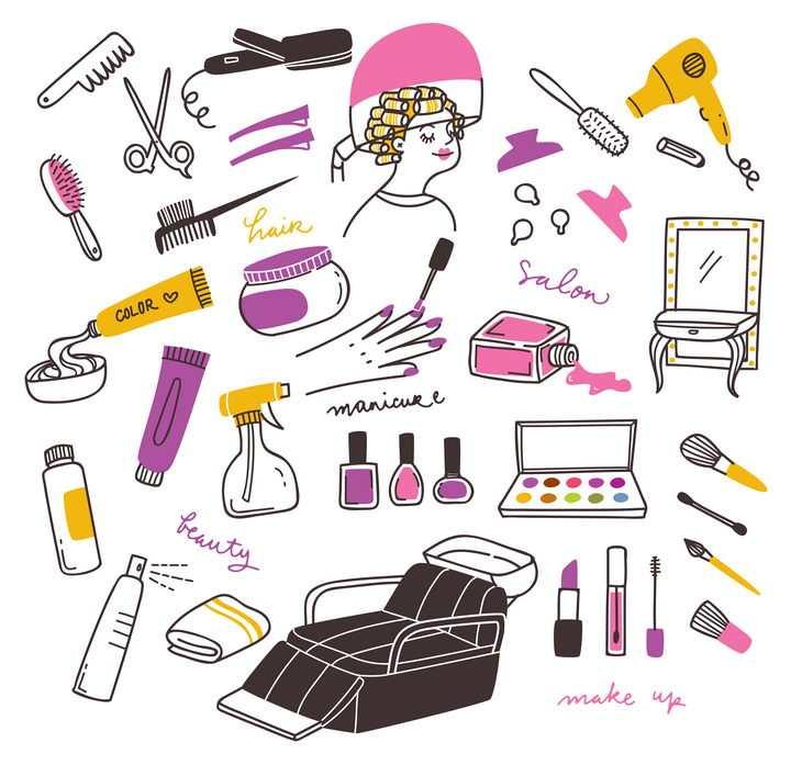 各种手绘涂鸦风格梳子剪刀理发店美发店用品图片免抠矢量素材