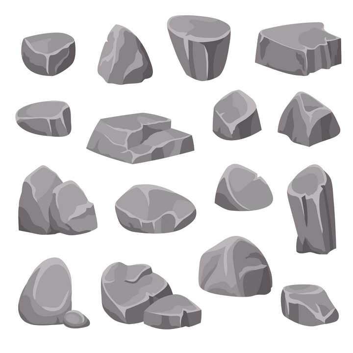 16款卡通漫画风格石头石块图片免抠矢量素材