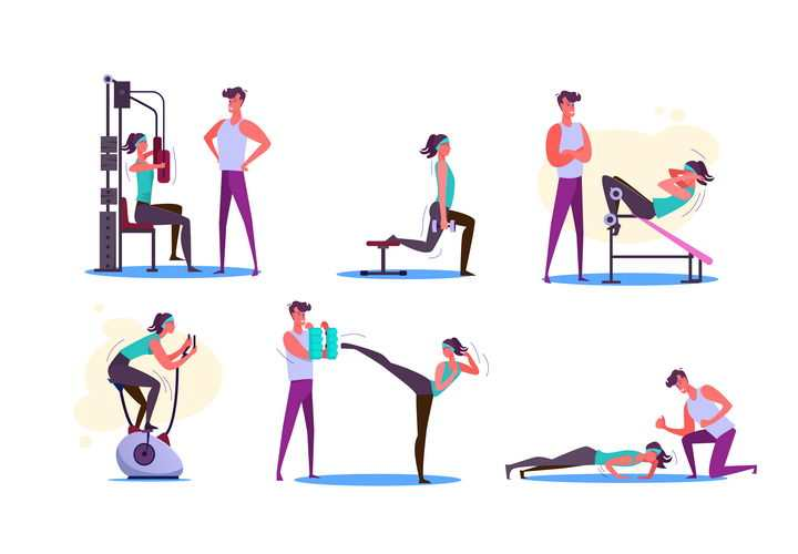 6款扁平插画风格正在教练监督下锻炼的健身美女图片免抠矢量素材