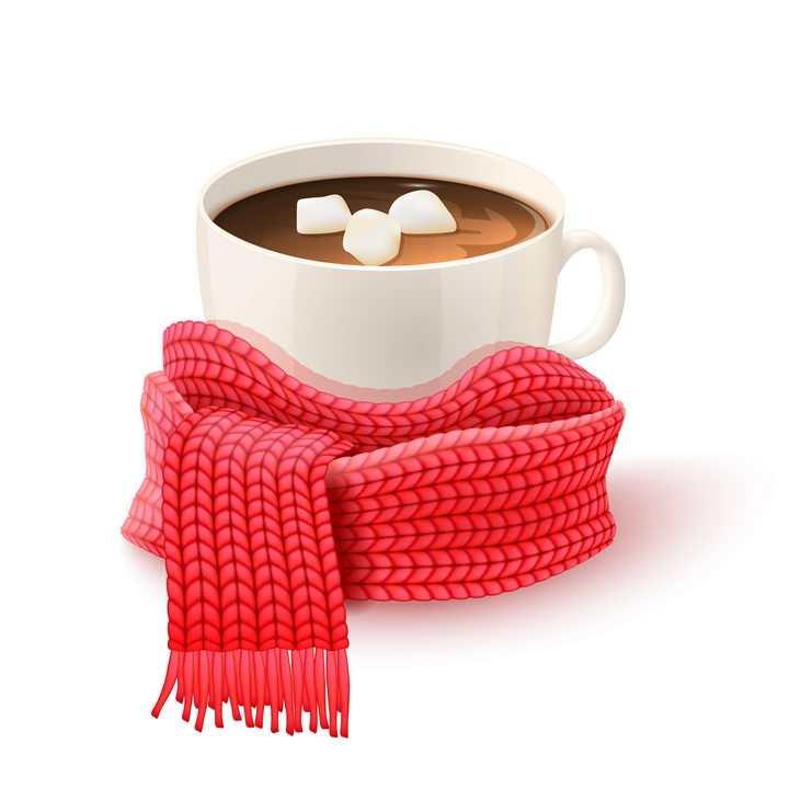 放在热咖啡旁边的红色针织围巾冬日里的暖心热饮图片免抠矢量素材