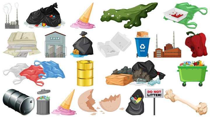 各种垃圾塑料污染环境污染图片免抠矢量素材
