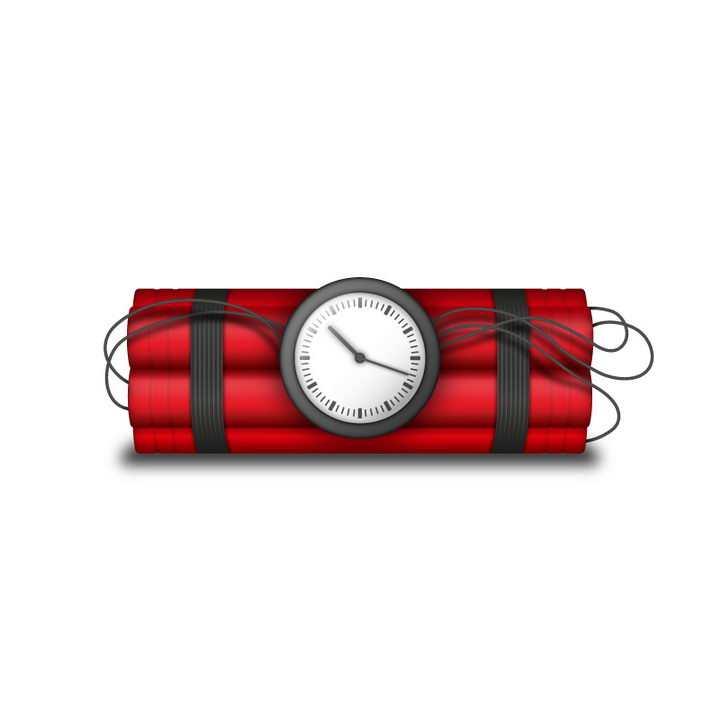 带有时钟倒计时装置的定时炸弹图片免抠素材