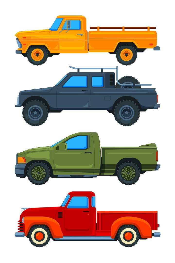 四种不同颜色的皮卡小汽车图片免抠矢量素材
