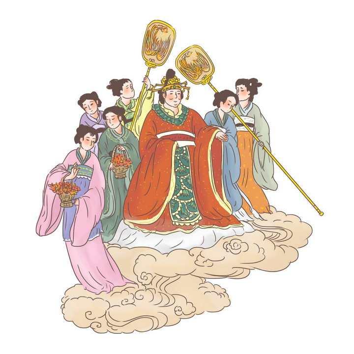 西王母出巡中国传统神话人物传说故事手绘彩色插图图片免抠png素材