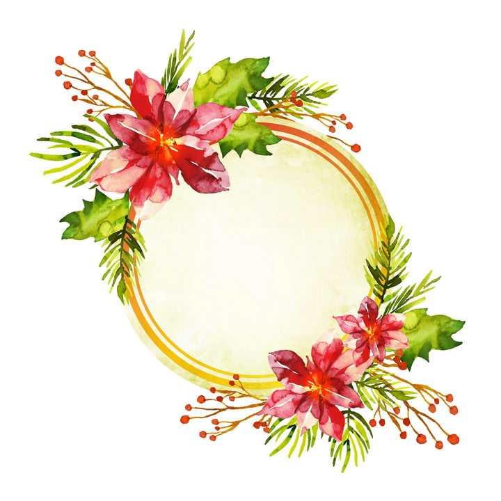 水彩画大红花朵绿色树叶装饰的圆形边框文本框图片免抠矢量素材