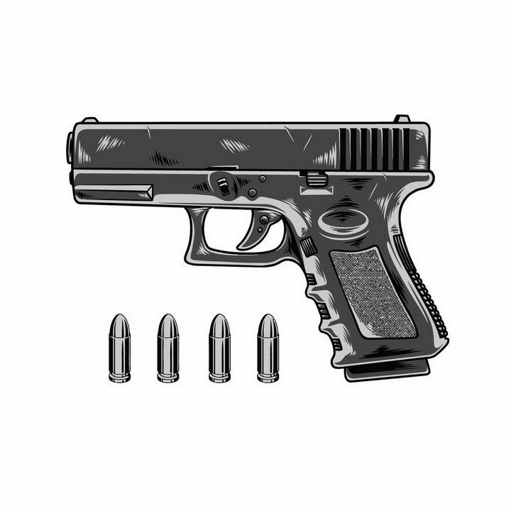 手绘风格手枪和子弹武器装备图片png免抠素材