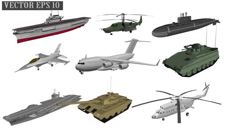 2.5D风格航空母舰武装直升机核潜艇战斗机运输机装甲战车坦克等武器装备图片免抠素材 军事科幻-第1张