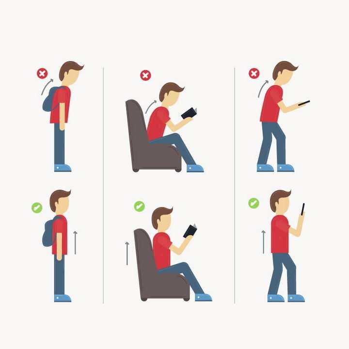 双肩背包坐下来和站着玩手机的正确与错误姿势对比图图片免抠素材