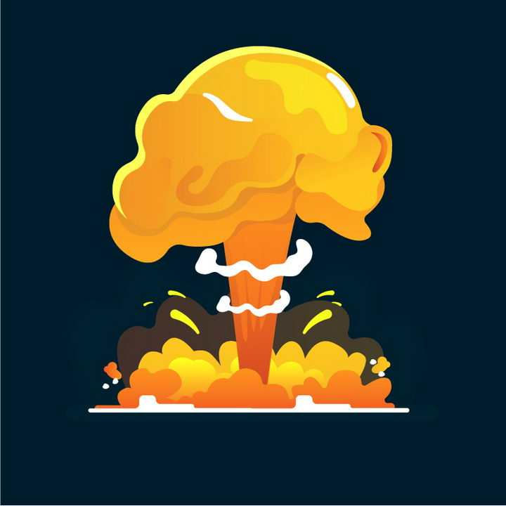 卡通漫画蘑菇云爆炸效果图片免抠素材