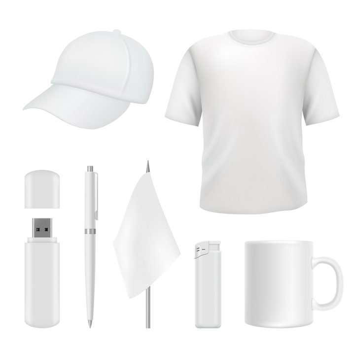 空白棒球帽T恤U盘圆珠笔旗帜大火箭马克杯等生活用品图片免抠矢量素材