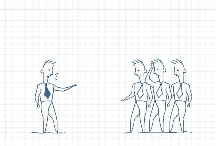 圆珠笔画涂鸦风格正在跟员工大声训话职场人际交往配图图片免抠矢量素材