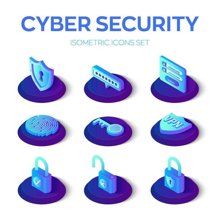 2.5D立体风格防火墙密码指纹识别等网络安全图标免抠矢量图素材