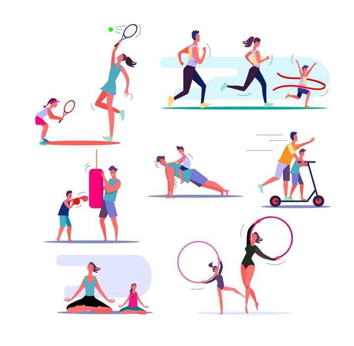 7款扁平插画风格正在陪伴儿子或女儿锻炼身体的健身爸爸或妈妈图片免抠矢量素材