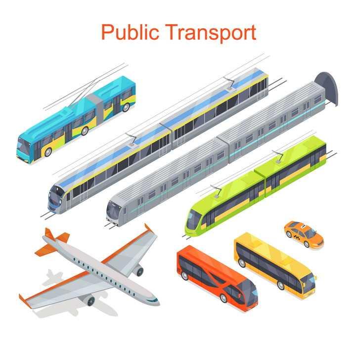 各种公共汽车高铁地铁出租车和大型客机等交通工具图片免抠矢量素材