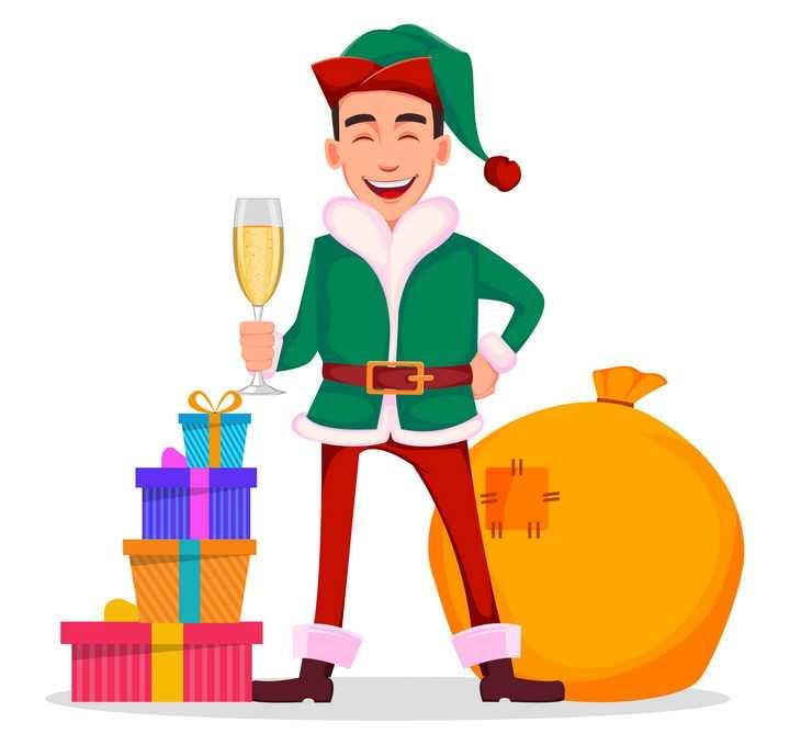 身穿圣诞老人服装的卡通年轻人图片免抠矢量素材