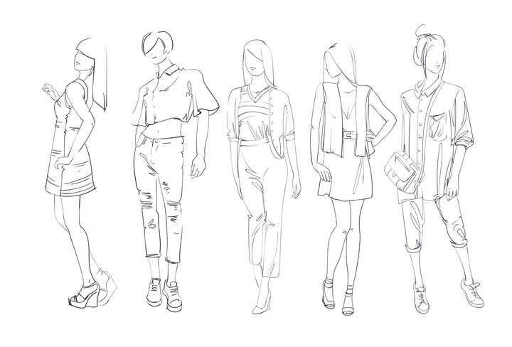 简约线条素描风格5个时尚职场女性女装时装设计草图图片免抠矢量素材