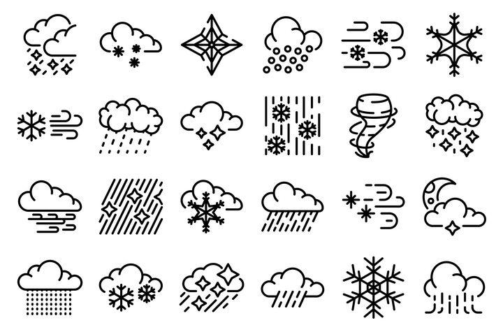 24款MBE线条风格下雨龙卷风雪花等天气预报图标图片免抠矢量素材 图标-第1张