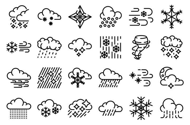 24款MBE线条风格下雨龙卷风雪花等天气预报图标图片免抠矢量素材