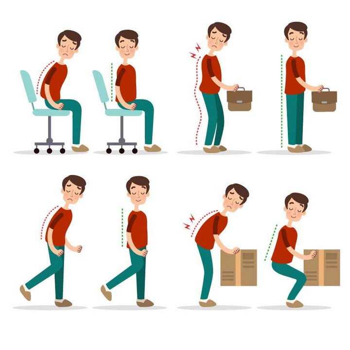 各种正确和错误坐姿站姿走路搬运物体姿势图片免抠素材