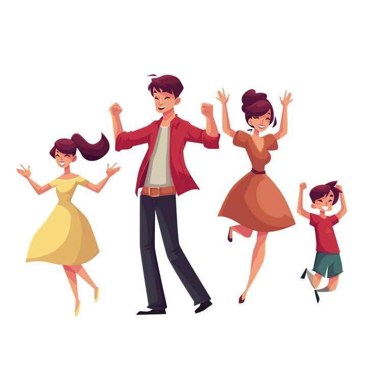 插画风格高兴得跳起来的爸爸妈妈女儿和儿子幸福的一家四口图片免抠矢量图素材