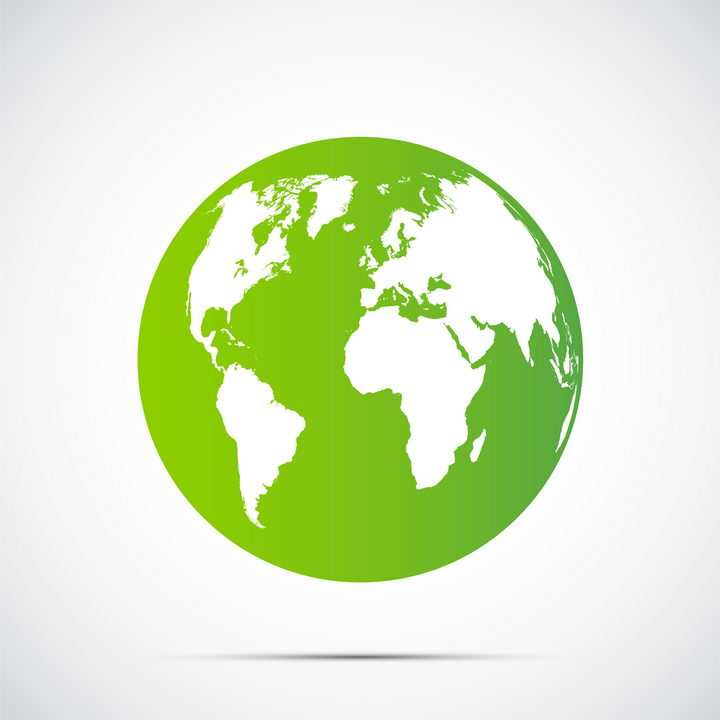 绿色海洋白色陆地的地球图片免抠矢量素材