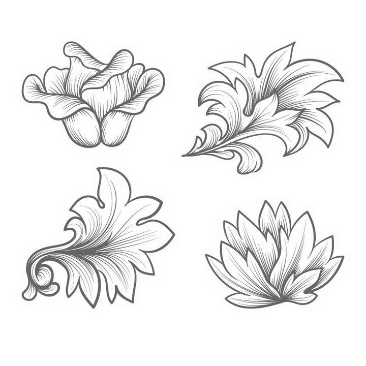4款手绘线条素描风格花朵花卉图案图片免抠矢量图素材 插画-第1张