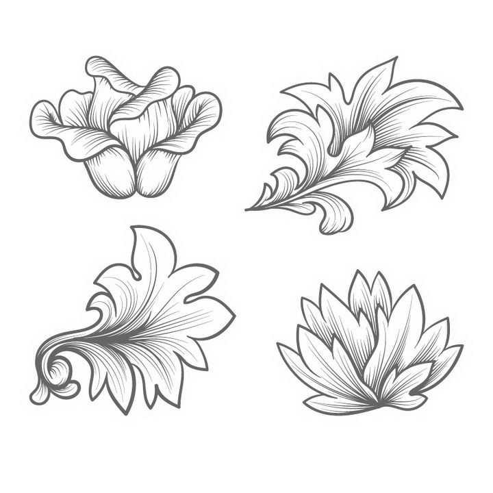 4款手绘线条素描风格花朵花卉图案图片免抠矢量图素材