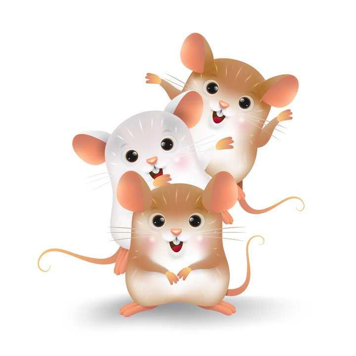 非常可爱的三只卡通老鼠鼠年快乐图片免抠矢量图素材