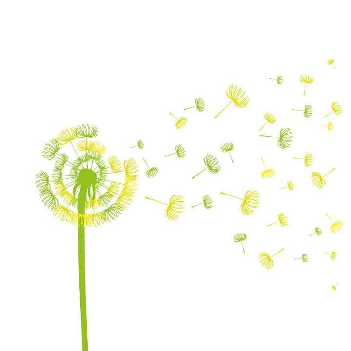 绿色和黄色吹散的蒲公英图案图片免抠矢量素材