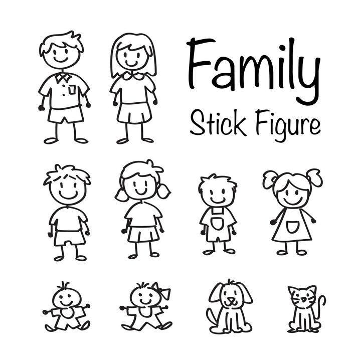 手绘儿童画涂鸦风格爸爸妈妈哥哥姐姐弟弟妹妹和狗狗猫咪一家人图片免抠矢量素材