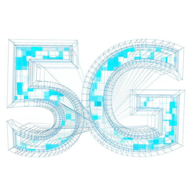抽象点线组成的5G网络技术字体图片免抠png素材
