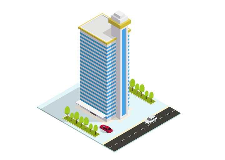 卡通风格蓝白相间的城市建筑高楼大厦医院大楼图片免抠矢量图素材