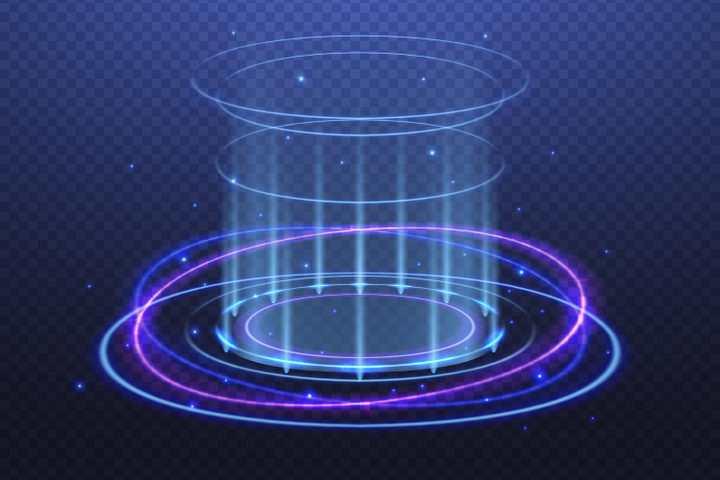 紫色和蓝色发光光圈科幻风格动感光线效果图片免抠矢量图素材