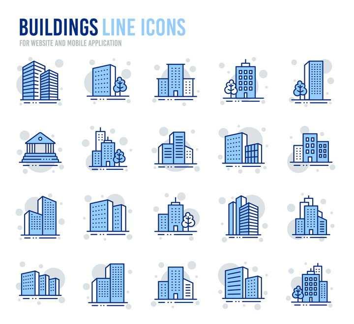 20款蓝白色城市建筑icon图标图片免抠矢量图素材