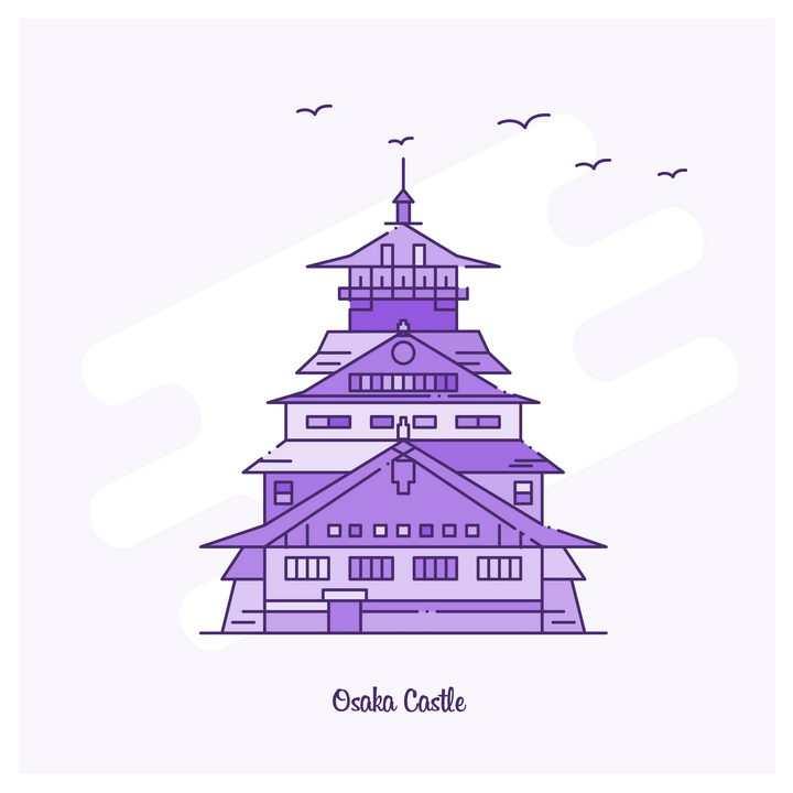 紫色断点线条风格北京天坛旅游景点图片免抠矢量图素材