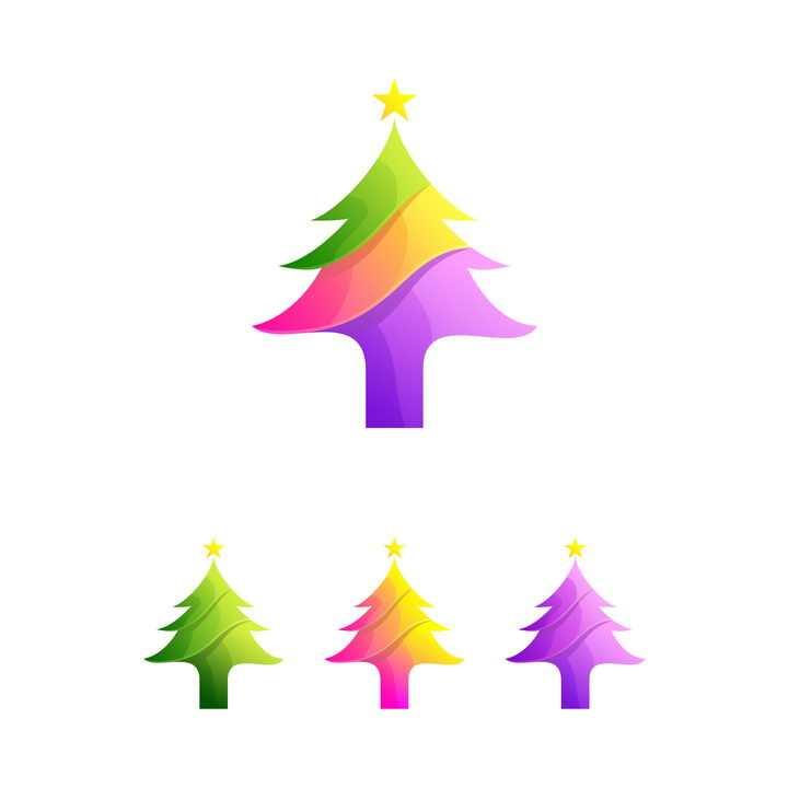 4种颜色的创意雪松logo设计方案图片免抠矢量素材
