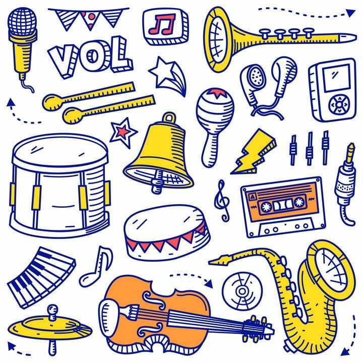 手绘涂鸦线条乐器音乐简笔画图片免抠素材