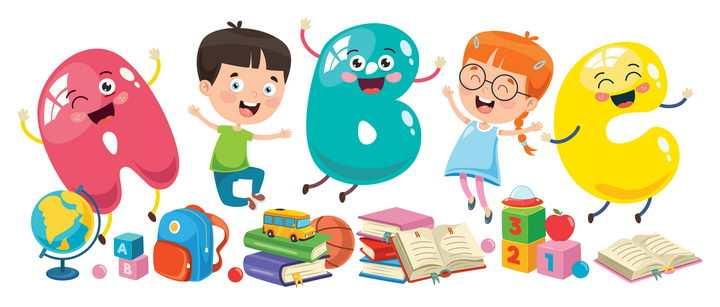 可爱卡通快乐学习的孩子图片免抠矢量素材