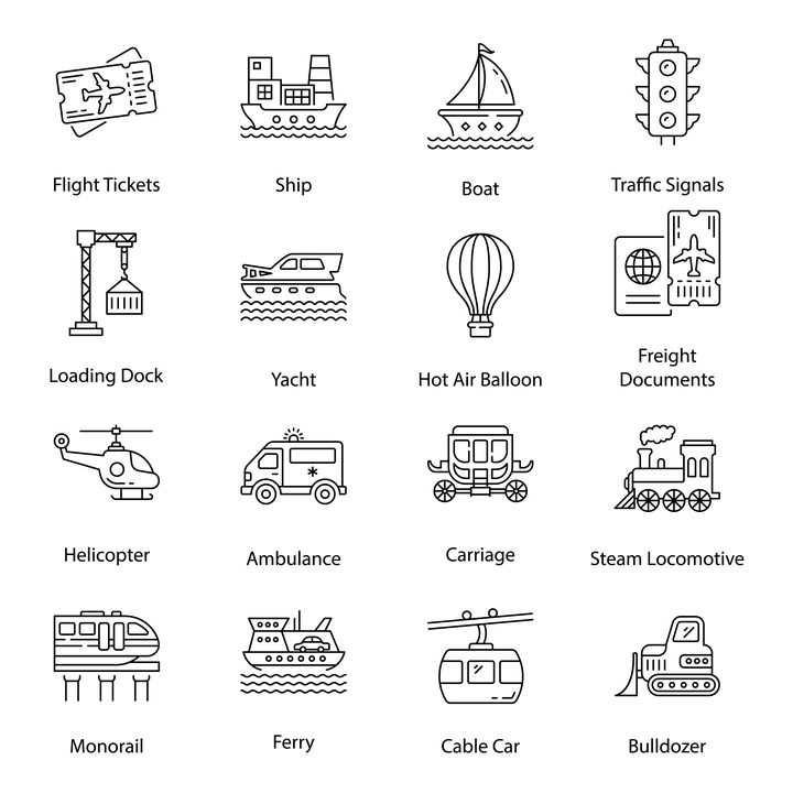 16款黑色线条风格飞机票轮船帆船红绿灯起重机等交通工具icon图标图片免抠矢量素材