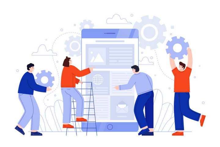 扁平插画风格正在一起搭建网页建设网站的程序员图片免抠矢量素材